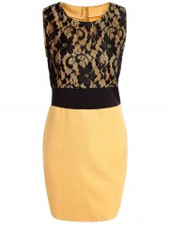 OL Style Scoop Neck Sleeveless Lace Spliced Bodycon Women's Dress -
