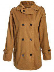Stylish Turn-Down Neck Long Sleeve Double-Breasted Pocket Design Women's Coat - EARTHY