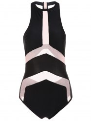 Sexy Halter Spliced See-Through One-Piece Women's Swimwear