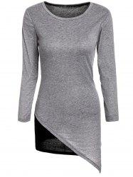 Stylish Scoop Neck Long Sleeves Color Splicing Irregular Hem Flocking Dress For Women -