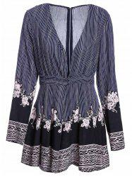 Women's Stylish Plunging Neck Long Sleeve Ethnic Print Romper