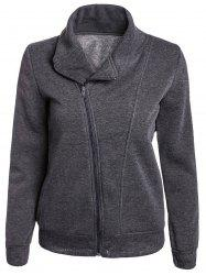 Stylish Turn-Down Neck Long Sleeve Zippered Solid Color Women's Hoodie - GRAY