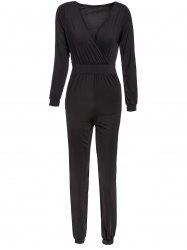 Sexy Plunging Neck Long Sleeve Solid Color Pocket Design Women's Jumpsuit