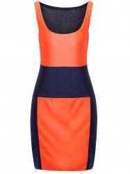 Sexy U-Neck Sleeveless Low Cut Color Block Women's Dress - DEEP BLUE