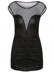 Alluring Round Neck Sleeveless Spliced See-Through Bodycon Women's Dress