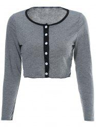 Sexy Scoop Neck Long Sleeve Single-Breasted Crop Top + Shorts Women's Twinset -