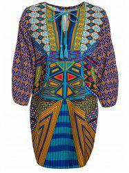 Women 's  Chic Print ethnique col en V-robe - Multicolore