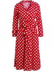 Vintage 3/4 Sleeve Bowknot Belted Polka Dot Printed Ball Gown Dress For Women