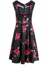Rose Printed Sleeveless Prom Ball Gown Dress - RED S
