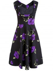 Rose Printed Sleeveless Prom Ball Gown Dress