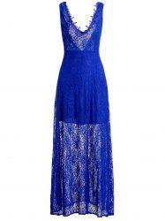 Lace Low Cut Backless Maxi Formal Evening Dress - BLUE