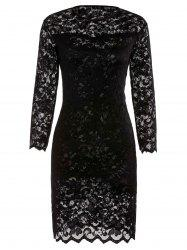 Lace Sheath Pencil Dress with Sleeves