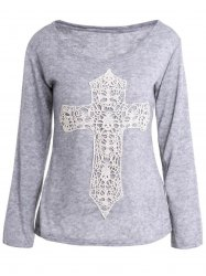 Casual Scoop Neck Laced Crucifix Pattern Long Sleeve T-Shirt For Women - GRAY S