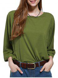 Chic Plus Size Batwing Sleeve Pure Color Women's Blouse