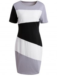 Brief Scoop Neck Color Block Short Sleeve Dress For Women - BLACK