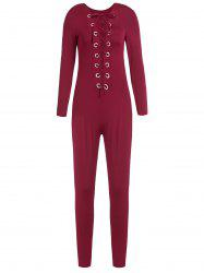 Sexy Round Neck Long Sleeve Hollow Out Slimming Women's Jumpsuit