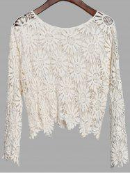 Fresh Style Solid Color Scoop Neck Long Sleeve Hollow Out Crochet T-Shirt For Women -