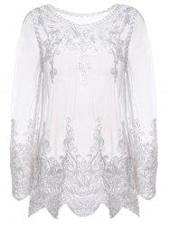 Sexy col rond manches longues Spliced ​​See-Through Blouse Women - Blanc