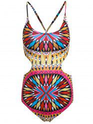 Chic Women's Colorful Ethnic Print One Piece Swimwear - YELLOW S