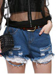 Plus Size Lace Hem Ripped Denim Shorts -