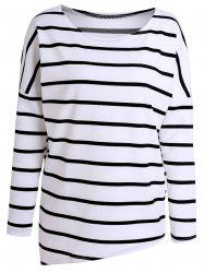 Simple Style Scoop Neck Long Sleeve Striped T-Shirt For Women