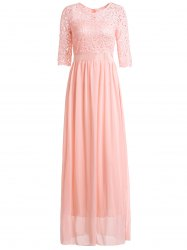Chiffon Long Formal Eveing Prom Dress with Sleeves - PINK
