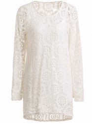 Long Sleeve Crochet Lace Dress with Tank Top