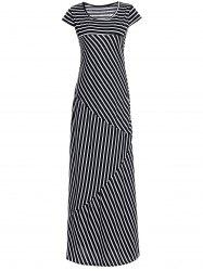 Striped Maxi Dress With Short Sleeve -