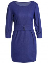 Jewel Neck 3/4 Sleeve Bodycon Jean Dress