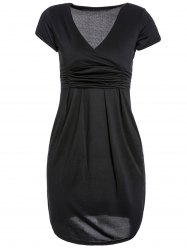 Elegant Solid Color V-Neck Short Sleeve High Waist Pleated Bodycon Dress For Women - BLACK