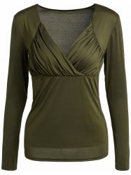 Sexy Sweetheart Neck Long Sleeve Ruched Solid Color Women's T-Shirt -