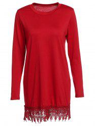 Round Neck Laciness Dress with Long Sleeves
