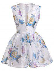 Plunging Neck Flower See-Through Ball Gown Dress -