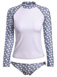 Chic Polka Dot Printed Raglan Sleeve T-Shirt and Briefs Twinset Swimwear For Women - GREY AND WHITE