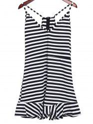 Sexy Plunging Neckline Ruffled Striped Romper For Women - WHITE AND BLACK