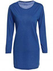 Brief Style Round Collar 3/4 Sleeve Solid Color Loose-Fitting Women's Dress -