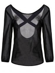 Sweet Solid Color Backless Criss-Cross 3/4 Sleeve Chiffon Blouse For Women -