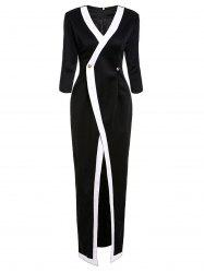 Stylish Plunging Neck 3/4 Sleeve Black and White Spliced Women's Slit Dress