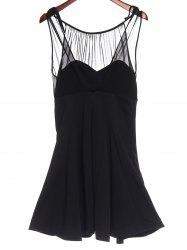 Sweet Round Collar Chiffon Spliced A-Line Sleeveless Dress For Women -