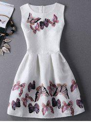 Jewel Neck Sleeveless Pleated Dress with Butterfly Print