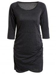 Sexy Low-Cut Scoop Neck Solid Color 3/4 Sleeve Asymmetric Bodycon Dress For Women - BLACK GREY S