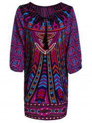 Stylish Lace-Up V-Neck Colorful Ethnic Print 3/4 Sleeve Dress For Women