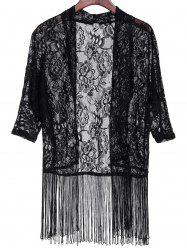 Fashionable Lace Embroidered Tassel Spliced Half Sleeve Kimono Cardigan For Women -