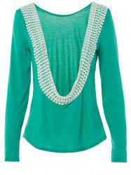 Stylish Scoop Neck Lacework Spliced Backless Long Sleeve T-Shirt For Women -