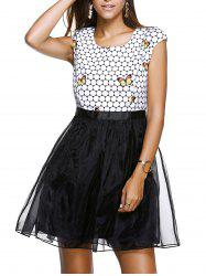 Sweet Scoop Neck Cap Sleeve Butterfly Print Organza Dress For Women -