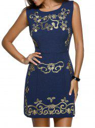 Trendy Round Neck Sleeveless Floral Embroidery Skinny Slimming Women's Dress -