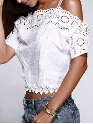 Strappy Cold Shoulder Lace Cutwork Crop Blouse -