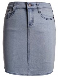 Sexy Buttoned Skinny Denim Skirt For Women -