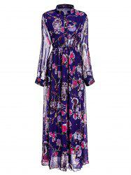 Floral Printed Maxi Chiffon Dress with Sleeves