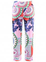 Fashionable Elastic Waist Printed Loose-Fitting Women's Exumas Pants - COLORMIX